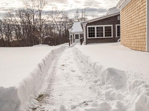 path through snow, behind BCBS Farmhouse